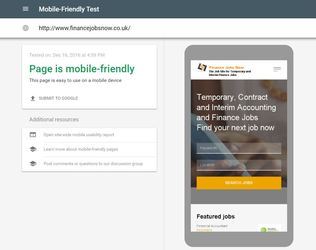 JobMount is ready for Google mobile-first index