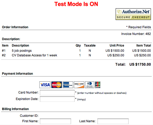Employer payments credit card invoice 5