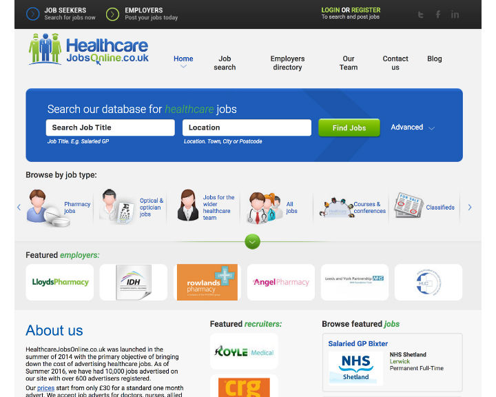 job board software client HealthcareJobsOnline