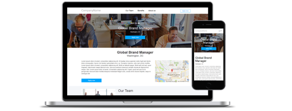 Employer branded career sites and job ad campaigns landing pages platform for job boards