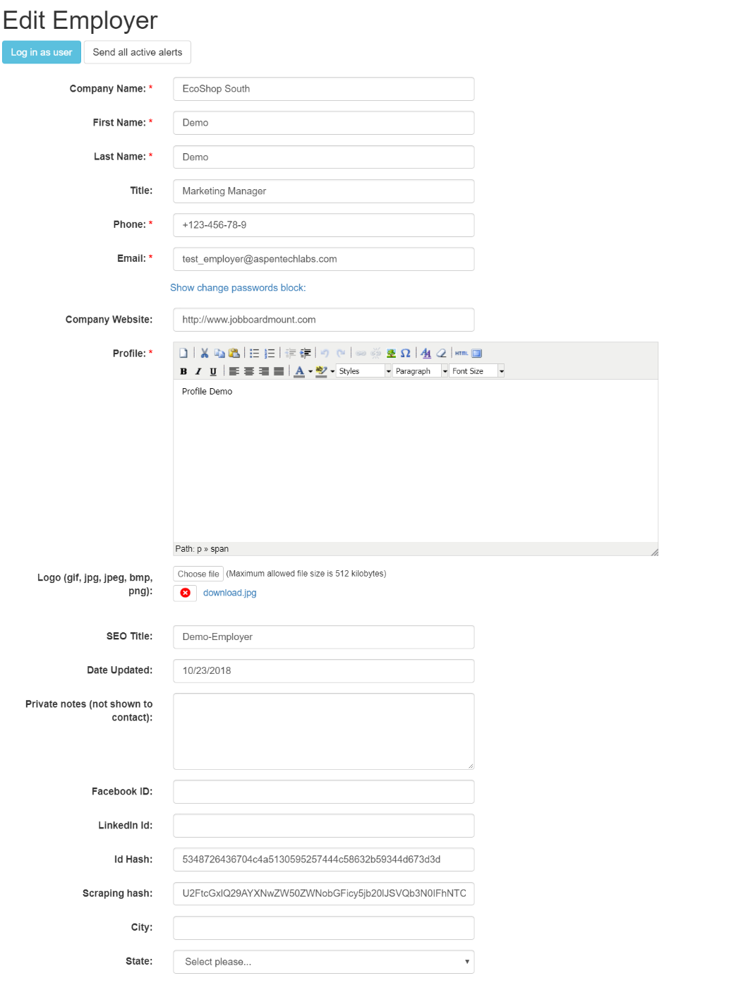 Edit employer profile in admin