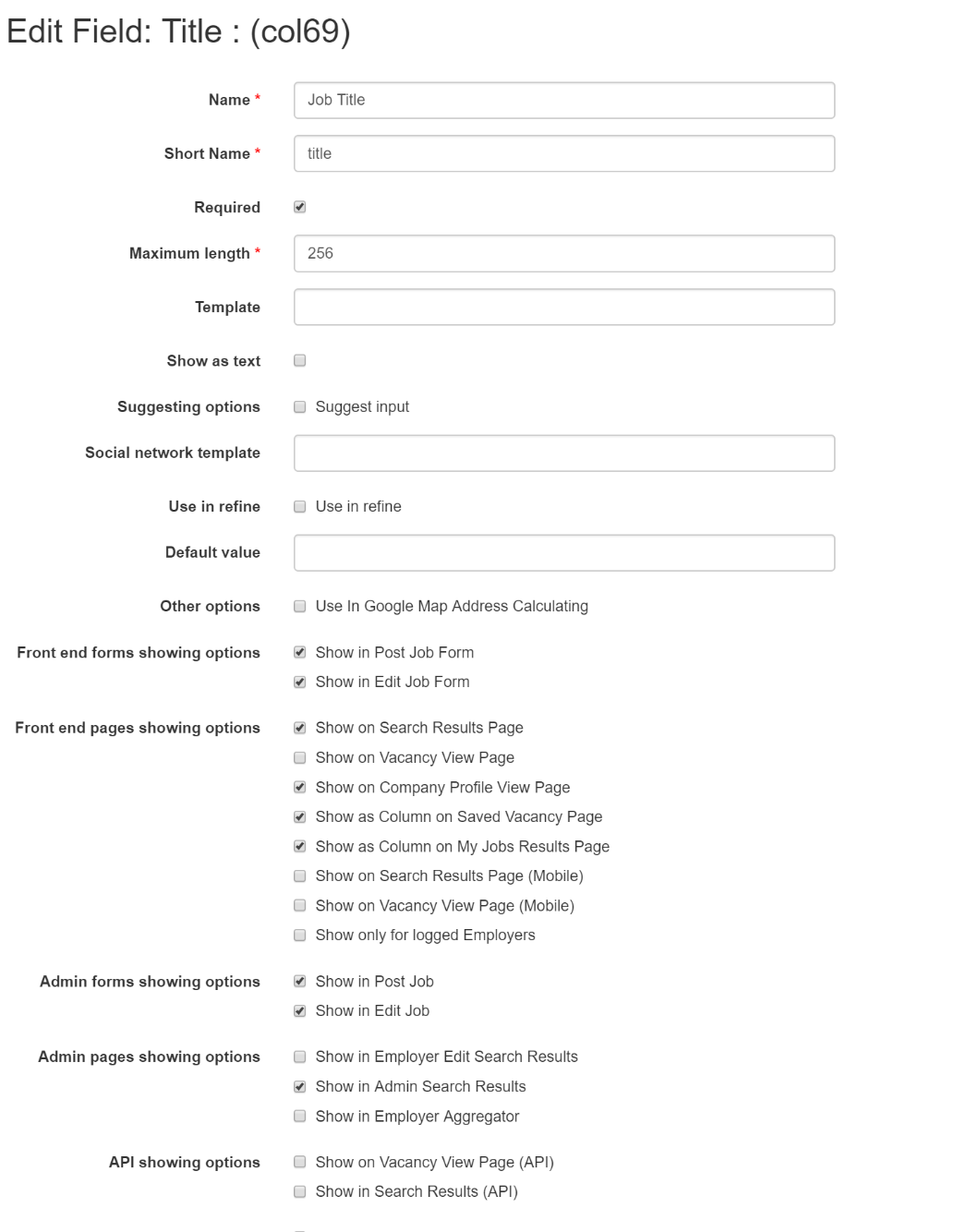 Customizable forms & listings edit title field