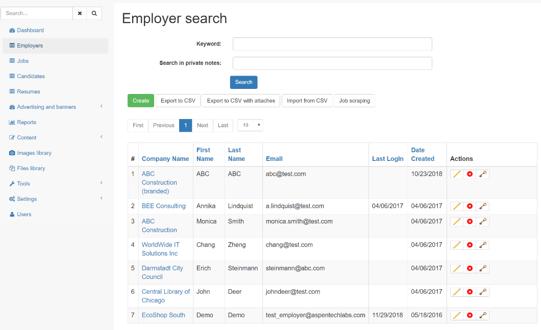 Employers list in admin