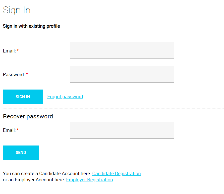 Employer login form
