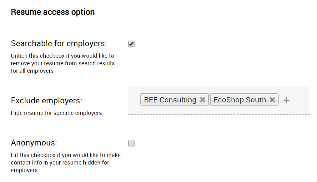 Exclude employers job board feature