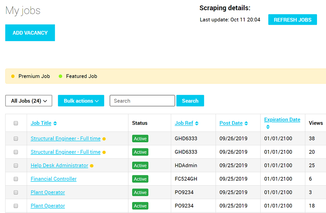 Jobs manager job board feature