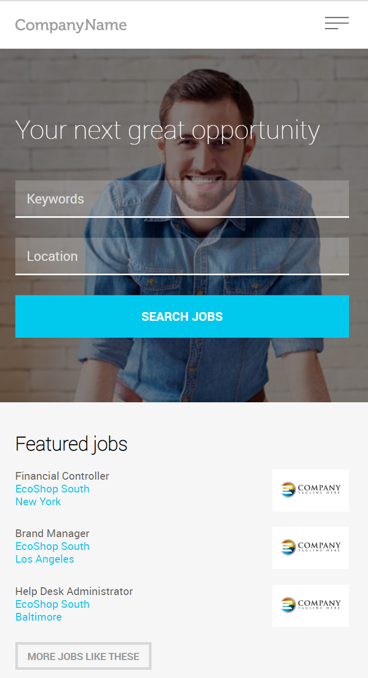Mobile enabled job board software home page