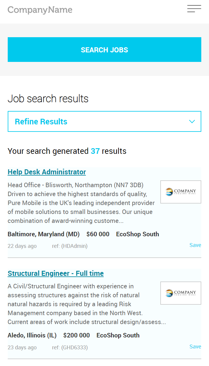 Mobile enabled job board software job search
