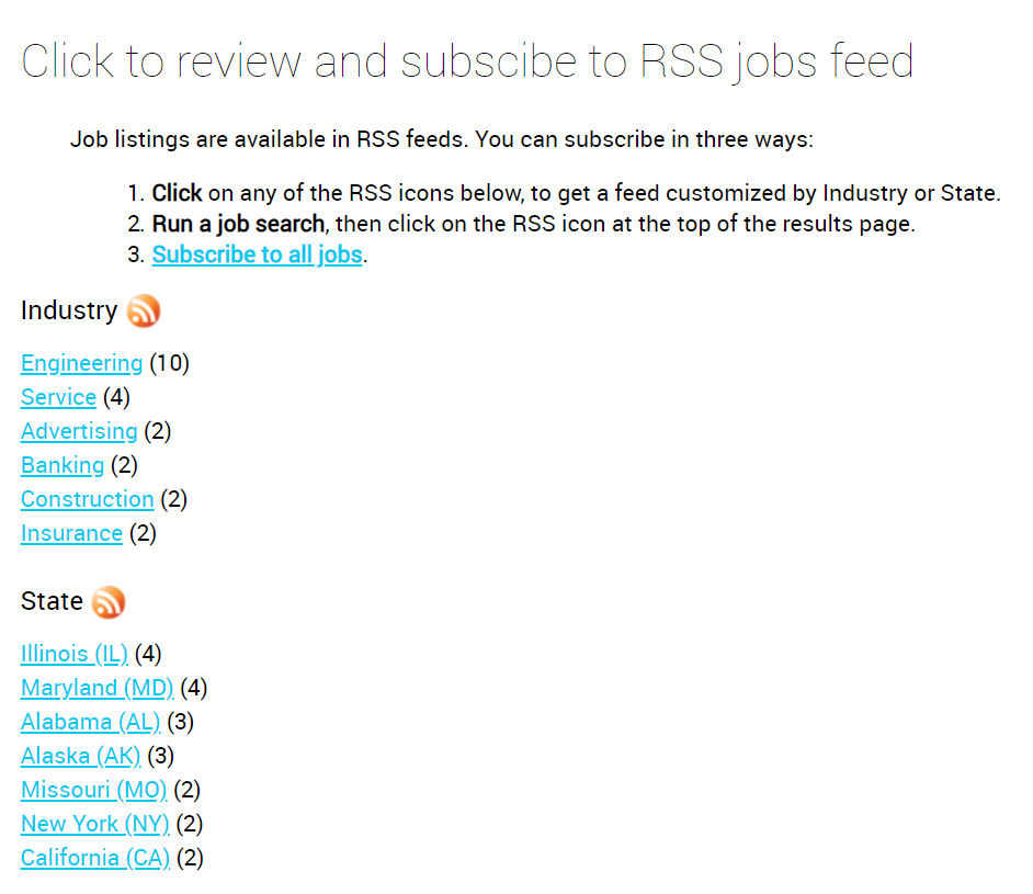 Jobs RSS feeds subscription 1